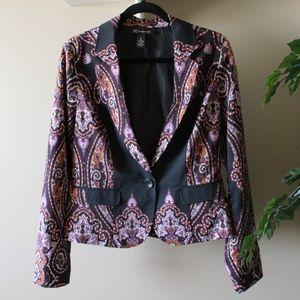 INC Black Paisley Boho Blazer Jacket